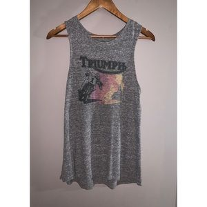 LUCKY BRAND triumph motorcycle graphic tank S